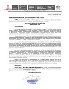 UGEL Cusco declara CONFORME la Adaptación del Plan de Recuperación de la Institución Educativa de Gestión Privada: SAN FRANCISCO DE ASÍS.