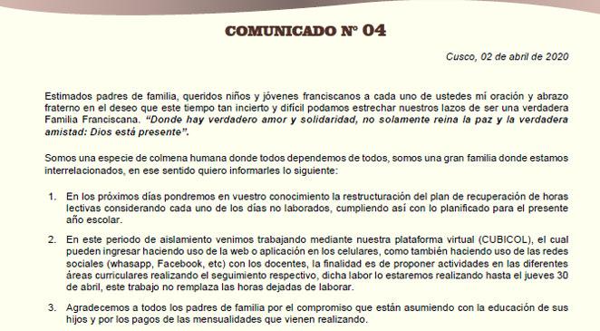 Comunicado N°04