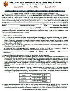 Modificación del Contrato de Prestación de Servicios Educativos 2020