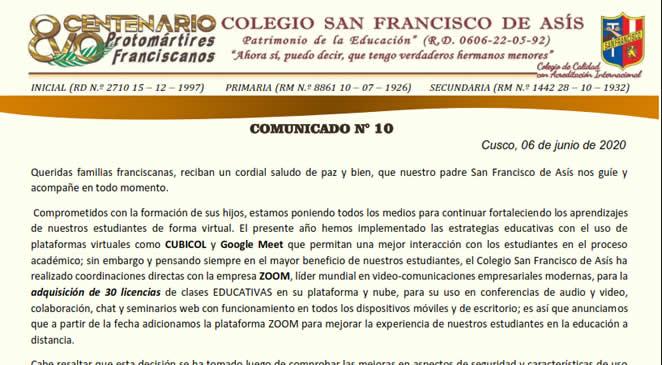 Comunicado N° 10