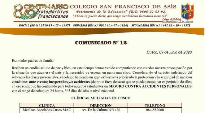 Comunicado N° 12